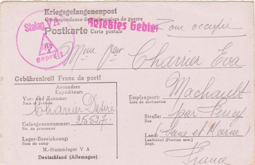 Kriegsgefangenenpost, Postkarte, Stalag VA, Désiré Charrier